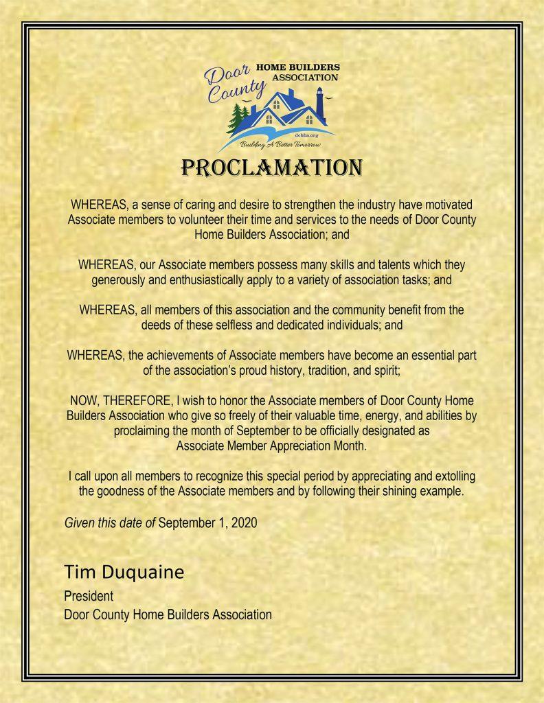 Door County Home Builders Association Associate Member Month